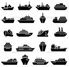 Ship and Boat Icon Set — Photoshop PSD #ocean #delivery • Available here → https://graphicriver.net/item/ship-and-boat-icon-set/10258784?ref=pxcr