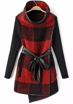 Red Patchwork Plaid Print Wool Coat - interesting