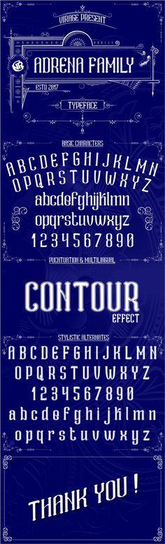 Adrena family - #Decorative #Fonts Download here: https://graphicriver.net/item/adrena-family/19509459?ref=alena994
