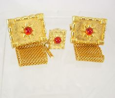 Vintage jeweled cufflinks mesh wrap and tie by NeatstuffAntiques, $70.00