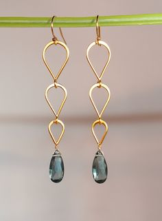 London Blue Topaz Faceted Drop Tiered Gold by RachaelRyen on Etsy