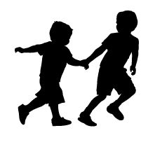love this vinyl silhouette of two boys playing