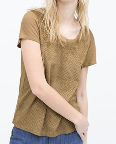 Image 3 of MIXED FABRIC T-SHIRT from Zara