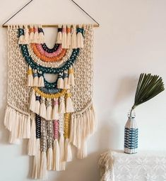 "Items similar to Macrame Wall Art / Wall Tapestry / Woven Hanging / Tapestry /Home Decor / Wall Art / Ranran Design ""Candy"" on Etsy - Makramee Deko Macrame Design, Macrame Art, Macrame Projects, Art Projects, Tapestry Weaving, Wall Tapestry, Hanging Tapestry, Macrame Patterns, Woven Wall Hanging"