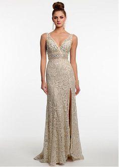 Marvelous Tulle & Lace V-Neck Sheath Evening Dresses With Rhinestones &…