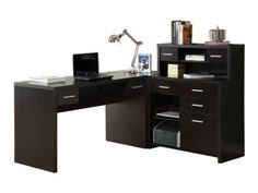 Amazon.com: Monarch Specialties Hollow-Core L-Shaped Home Office Desk, Cappuccino: Home & Kitchen- may not be big enough- this may be my best option with file cabinet added