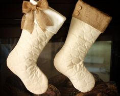 Single Quilted Stockings with Burlap Cuff and by BurlapBabe
