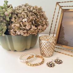 Showcasing a romantic vintage gold metal frame and a sage green Mini Bundt pan.   Visit CottageBlu today and buy yourself something delightful...you deserve it!