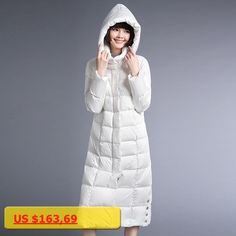 YNZZU Women Winter Down Coat Ultra light Extra Long Hooded White Long Sleeve Korean Style Lady Down Jackets Women Clothes YO170