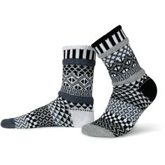 Life is too short for matching socks, especially when you can wear these fun and beautiful Solmate Socks! The Midnight Crew Sock design is a monochromatic standout in our sea of color. These black, white, and gray socks are absolutely stunning.