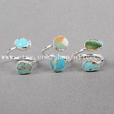 Pretty 100% Natural Turquoise Wrap Ring Sliver Plated Freeform Genuine Turquoise Ring Adjustable Gemstone Ring Fashion Jewelry S0183 by aliceUS on Etsy