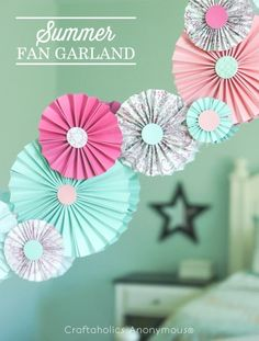 Summer Fan Garland. Love paper rosettes. These colors are great together.