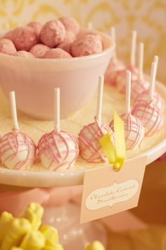 Sweet pink/yellow cake pops (choc covered strawberries actually!) via Amy Atlas