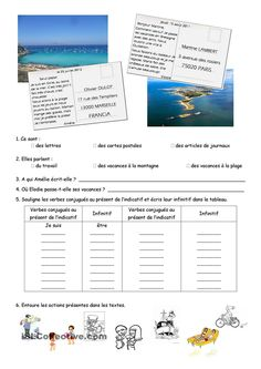 Compréhension et expression écrite carte postale French Teacher, Teaching French, French Trip, French Practice, French Course, French Worksheets, French Education, Core French, French Grammar