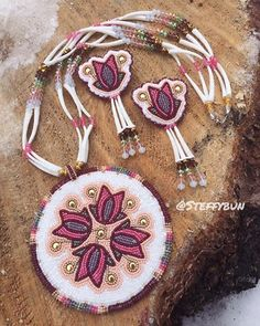 Beaded medallion with earrings #ndn #beader #beadedmedallion