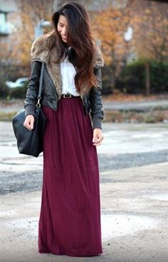 crimson maxi skirt with jacket, How to style your maxi skirt in winter http://www.justtrendygirls.com/how-to-style-your-maxi-skirt-in-winter/