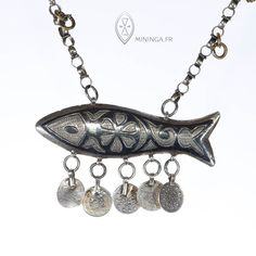 Rare Palestinian fish amulet - traditional silver niello fish necklace - collectible jewelry - antique silver fish pendant - jewish amulet