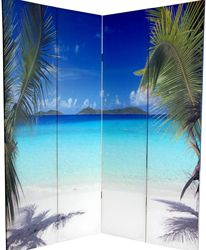 Beautiful blue ocean and sandy beaches photograph on a room divider screen