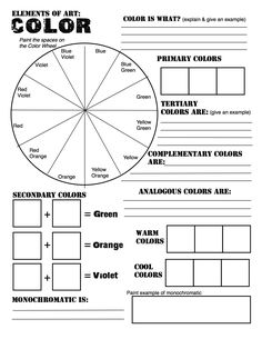 Elements of Art: Color Wheel Worksheet and Lesson! FREE Elements of Art: Color Wheel Worksheet and Lesson!FREE Elements of Art: Color Wheel Worksheet and Lesson! High School Art, Middle School Art, School School, High School Students, Color Wheel Worksheet, Elements Of Art Color, Arte Elemental, Classe D'art, Art Handouts