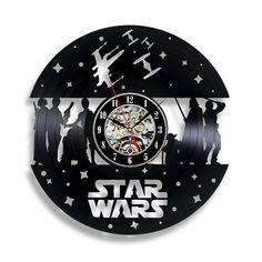 Star Wars Vinyl Wall Clock. Star Wars Gift Ideas. Star Wars Clock Ideas. Star Wars Lover Gifts. Home Decoration Ideas For Star Wars Fan. Wall Clock Ideas.
