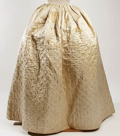 Metmuseum.org.  Silk quilted petticoat.  Diamond pattern with double stitching lines.  110 inches circumference.  Accession umber X.279