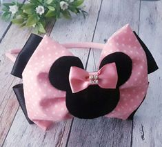 Pink Hair Bows, Ribbon Hair Bows, Diy Ribbon, Diy Headband, Baby Headbands, Minnie Mouse Headband, Hair Bow Tutorial, Pink Minnie, Kids Hair Accessories