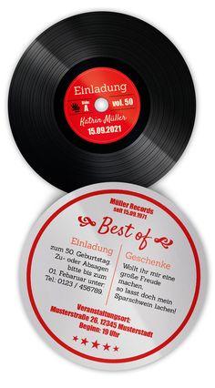 Untersetzer Geburtstagseinladungen Schallplatte - einfach individualisieren! 10,3 cm im Durchmesser