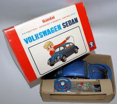 Vintage Battery Op Remote Control Tin VW VOLKSWAGEN Beetle Bug, Bandai Japan