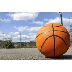 Basketball on an Outdoor court on a Sunny day Photography by Eazl, Size: 18 x 12, Orange