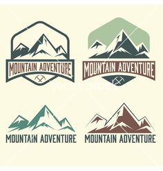 Set of vintage labels mountain adventure vector by UVAconcept on VectorStock®