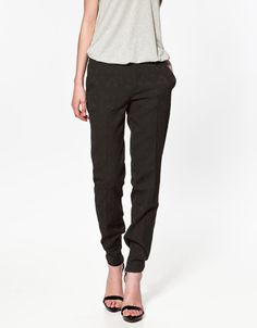 JACQUARD PATTERN TROUSERS WITH ZIPS - Trousers - Woman - New collection - ZARA