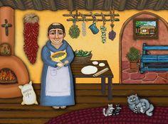 Southwest Religious Ceramic Tile Mural 17 x 1275 San Pascuals Kitchen II by Victoria de Almeida *** Visit the image link more details. Victoria, Van Gogh Almond Blossom, Memorial Urns, Tile Murals, Patron Saints, Decorative Tile, Plant Decor, Painting Inspiration, Decorative Accessories
