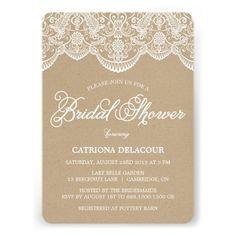Vintage Chic Brocade Lace Bridal Shower Invitation