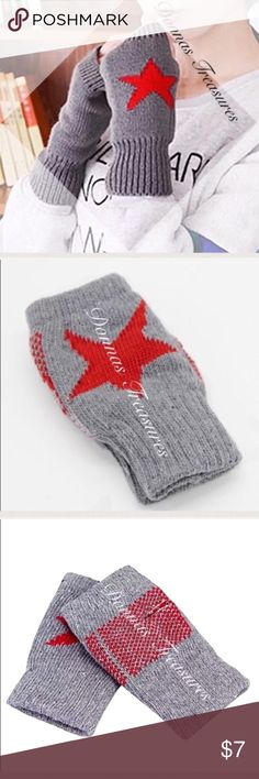 "🏄🏼‍♀️Grey & Red Star Fingerless Knit Gloves These trendy gloves will keep your hands warm all winter long. Made of 80% acrylic and 20% Lycra. The thumb holes & knuckles are reinforced with stitching. They're cuffed at the wrist & knuckles. There's plenty of stretch to fit most hand sizes. Measurements: 6.25"" from top to bottom & 3.5"" from side to side (unstretched).#0905 Accessories Gloves & Mittens"