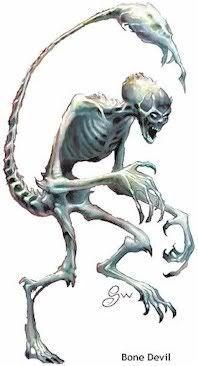 Diabo dos Ossos (Osyluth) - Essa criatura alta tem uma aparência esquelética e miserável, quase o resquício de uma forma humanoide, com a pele ressequida e repuxada a ponta de destacar e enfatizar os ossos. Sua cabeça é aterrorizante, similar a uma caveira. Sua cauda lembra o ferrão de um escorpião, e um odor nauseante de morte permeia o ar ao seu redor. Os diabos de ossos têm cerca de 2,70 m de altura e pesam em torno de 250 kg.