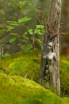 Wood nymph carving