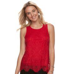 Juniors' Trixxi Scalloped Lace Tank, Teens, Size: Medium, Red