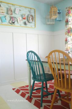 Use an old painted crib spring for easy wall decor in a colorful craft room! @Lauren Davison Jane Jane {lollyjane.com}