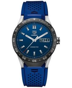 Tag Heuer Connected 1.0 Men's Carrera Blue Rubber Strap Smart Watch 46mm SAR8A80.FT6058 - Blue