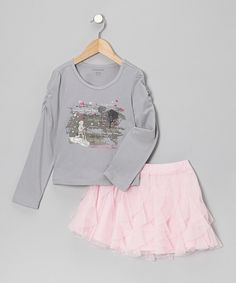 Take a look at this Gray Butterfly Tee & Pink Ruffle Skirt - Infant, Toddler & Girls on zulily today!