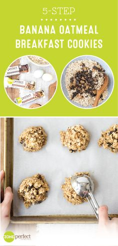 Stay on track with your New Year's resolution and enjoy a delicious morning dish with the help of these 5-Step Banana Oatmeal Breakfast Cookies. Don't worry, this recipe is anything but too good to be true! Made with ZonePerfect® Nutrition Bars, bananas, and peanut butter, you won't believe how easy this morning treat is to make. Who says sticking to your goals can't be tasty too?! Vegan Breakfast, Breakfast Bars, Oatmeal Breakfast Cookies, Breakfast Ideas, Breakfast Dishes, Breakfast Recipes, Diet Recipes, Vegetarian Recipes, Gluten Free Recipes