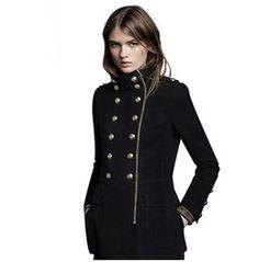 Military Double Breasted Zipper Women Coat