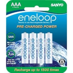 #10: Sanyo NEW 1500 eneloop 4 Pack AAA Ni-MH Pre-Charged Rechargeable Batteries