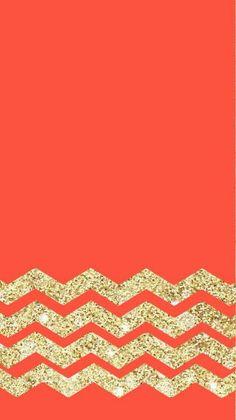 Coral cheveron wallpaper