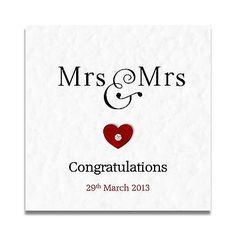 Handmade Personalised Mrs & Mrs Civil Partnership Wedding day Card