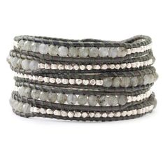 five wrap bracelet with labradorite stones and sterling silver nuggets on natural grey colored leather; Chan Luu design
