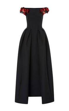 Embroidered Off The Shoulder Jacquard Gown by ZAC POSEN for Preorder on Moda Operandi
