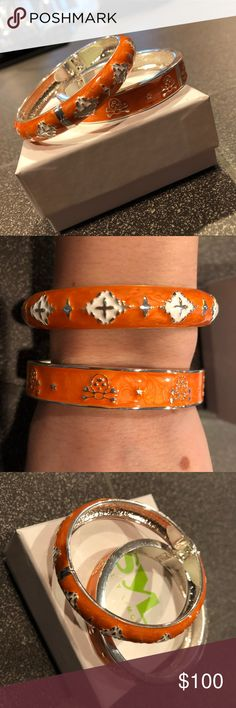 🇨🇭Orange bangle bracelet set Brand new never worn orange bangle bracelet set from sal y limon . Originally purchased at a jewelry store in Zurich Switzerland. Paid 145CHF (about $150). Come with original jewelry box sal y limon Jewelry Bracelets