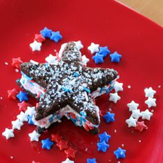 Strawberry ice cream sandwiches between two soft brownie stars. Great for 4th of July.