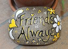 Hand-Painted-Large-Rock-By-Deb-Rottum-Friends-Always-Rock-Art